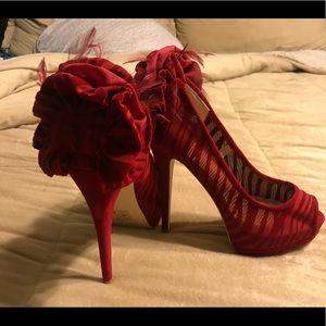 Just Fab red velvet heels